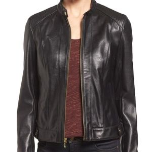Cole Haan - Smooth Leather Racer Jacket - Black M